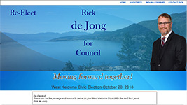 Re-Elect Rick de Jong, West Kelowna Council