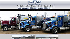 Valley Wide Slinger Service, putting top soil, mulch, gravel, crush, sand and rock exactly where you need it!